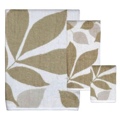 Shadow Leaves 3-Piece 100% Cotton Bath Towel Set in White/Taupe/Tan