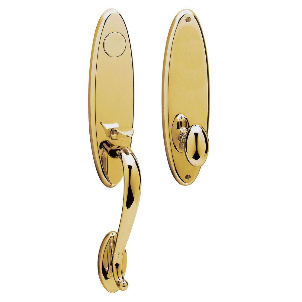 Blakely Polished Brass Full-Dummy Door Handleset with Egg Door Knob