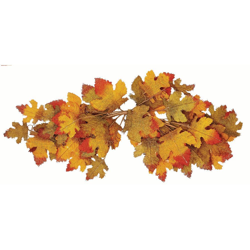 31 in. Fall Burlap Maple Leaf Swag