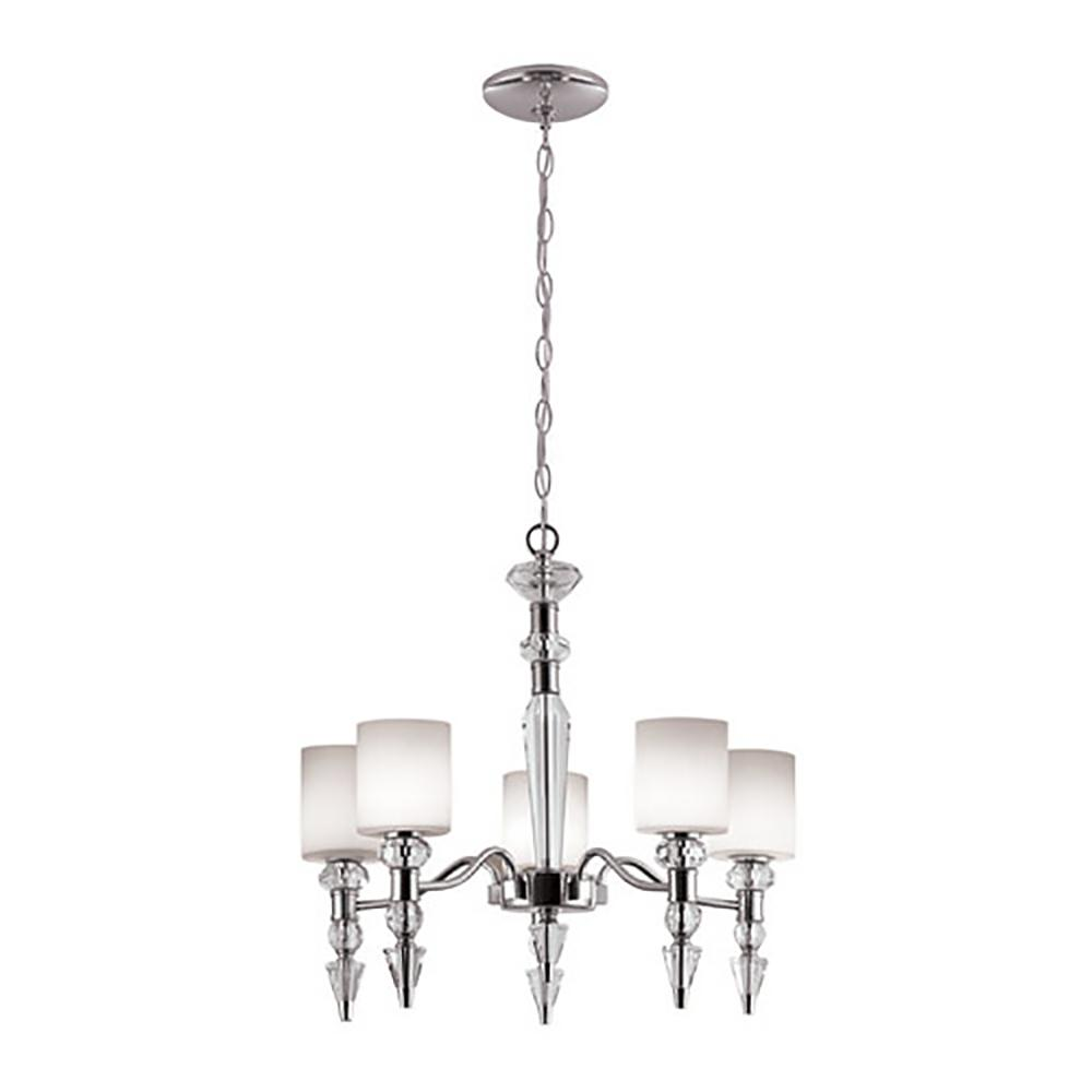 Bel Air Lighting 5 Light Polished Chrome Chandelier With Opal