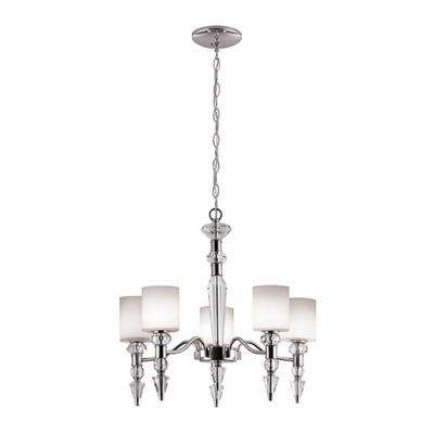 5-Light Polished Chrome Chandelier with Opal Shade
