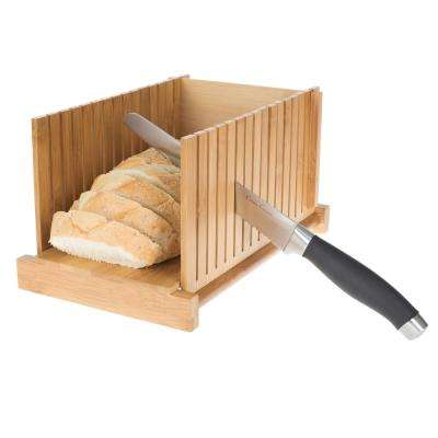Adjustable Bamboo Knife Guide and Board for Bread Cutting