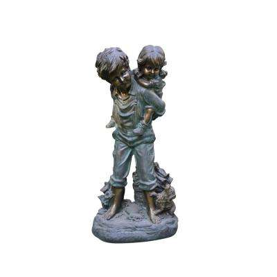 Boy Giving Piggyback Ride Statue