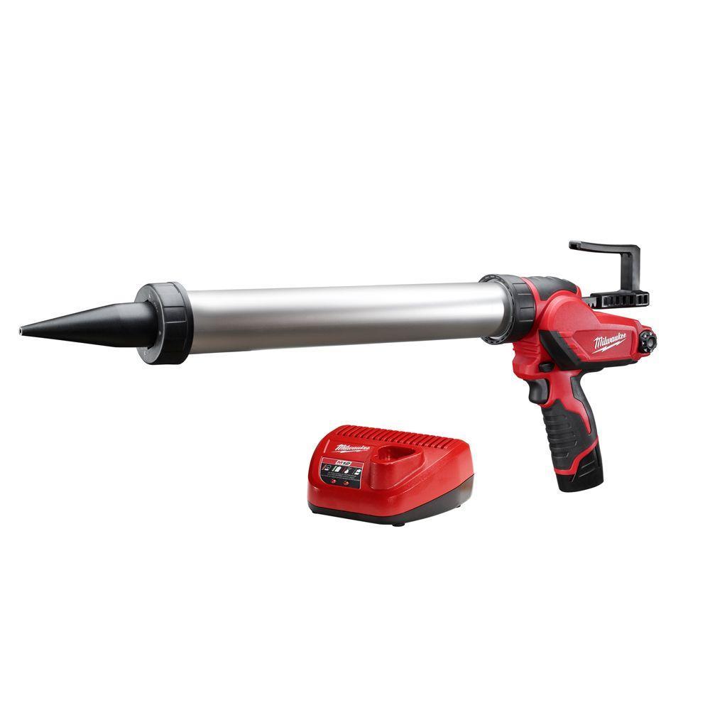 milwaukee m12 12 volt lithium ion 20 oz cordless aluminum barrel caulk and adhesive gun kit. Black Bedroom Furniture Sets. Home Design Ideas