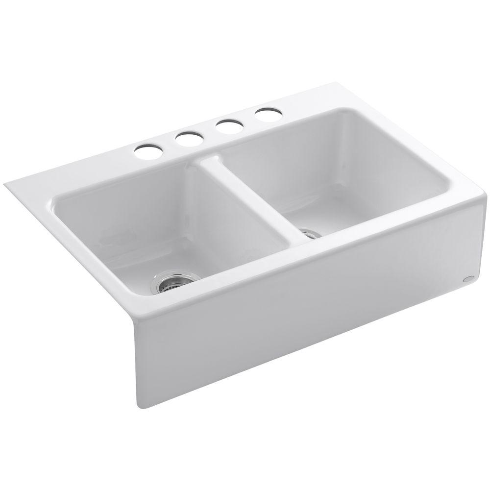 KOHLER Hawthorne Undermount Farmhouse Apron-Front Cast Iron 33 in. 4-Hole Double Bowl Kitchen Sink in White