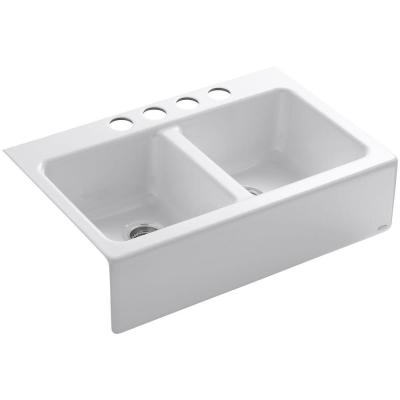 Hawthorne Undermount Farmhouse Apron Front Cast Iron 33 in. 4-Hole Double Bowl Kitchen Sink in White