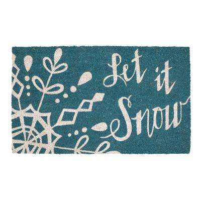 Snowfall 18 in. x 30 in. Coir Holiday Mat