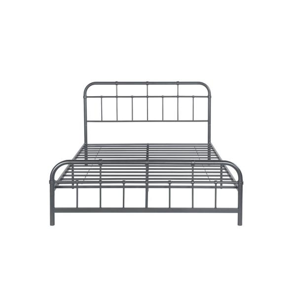 Noble House Berthoud Industrial Queen-Size Charcoal Gray Iron Bed Frame 54662
