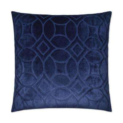 Reidshire Blue Feather Down 24 in. x 24 in. Decorative Throw Pillow