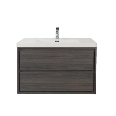 Sage 42 in. W Vanity in Gray Oak with Reinforced Acrylic Vanity Top in White with White Basin