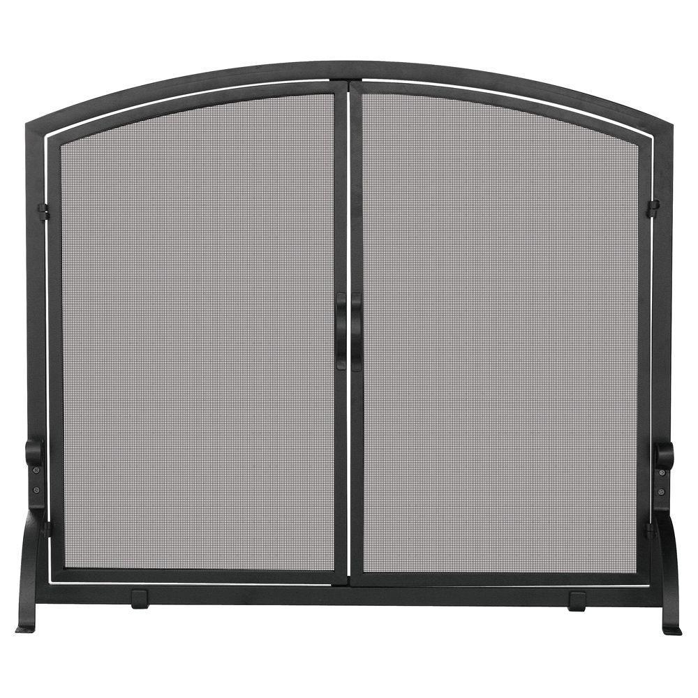 Black Wrought Iron Single-Panel Fireplace Screen with Doors, Medium