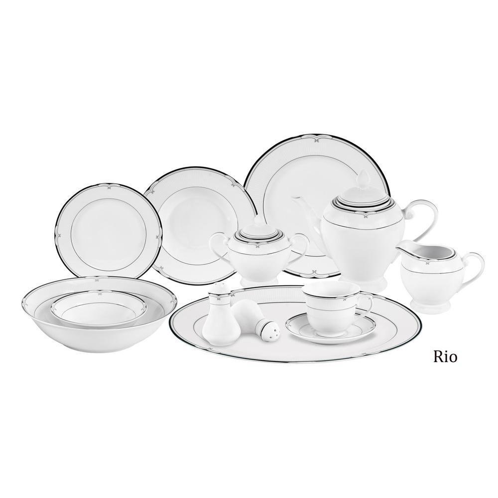 Lorren Home Trends 57-Piece Black Border Porcelain Dinnerware Set Rio