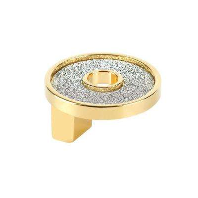 Crystal Collection 1.25 in. Round Sparkling Gold and Crystal Knob
