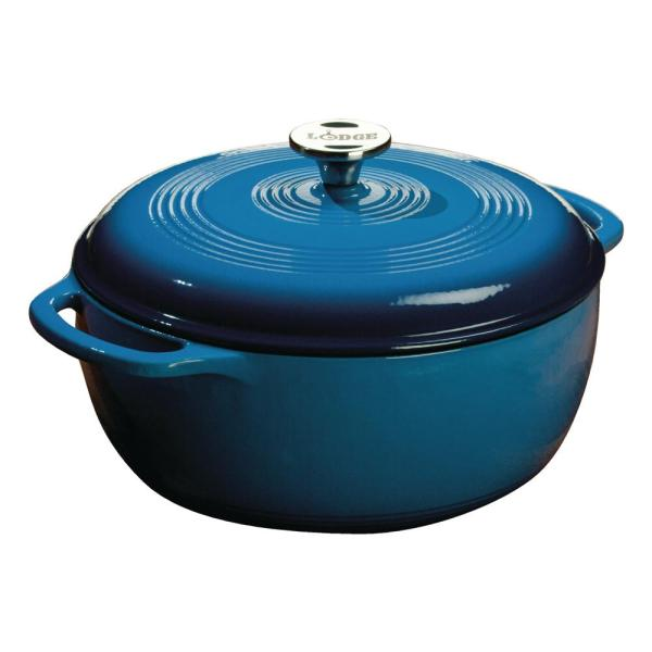 Lodge 6 Qt. Round Enamel Cast Iron Dutch Oven in Blue