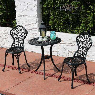 Black 3-Piece Cast Aluminum Outdoor Bistro Set