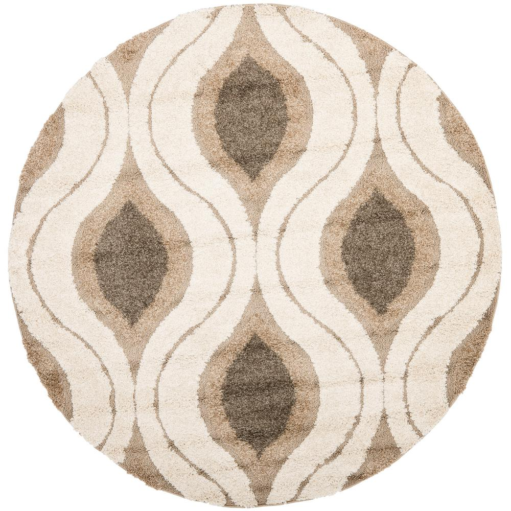 Safavieh Florida Shag Cream Smoke 7 Ft X Round Area Rug Sg461 1179 7r The Home Depot
