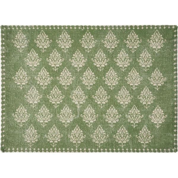 Lr Home Fairytale 19 In X 13 In Damask Green Motif Bordered Cotton Placemats Set Of 4 Speci04712mdg1117 The Home Depot