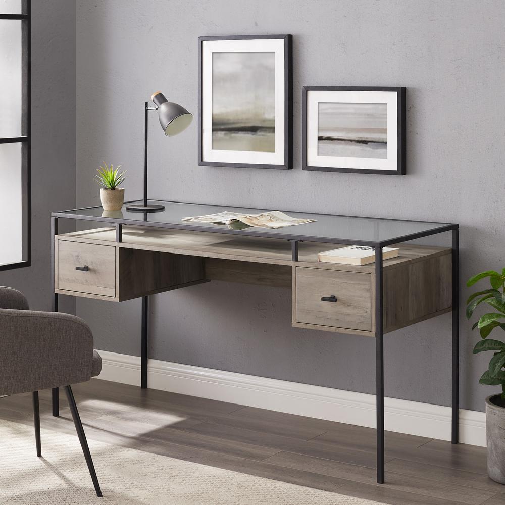 56'' 2 Drawer Glass Top Desk - Grey Wash