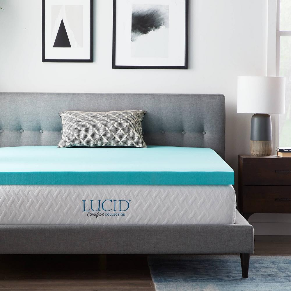LucidComfortCollection Lucid Comfort Collection 3 Inch Gel and Aloe Infused Memory Foam Topper - Twin XL, Blue