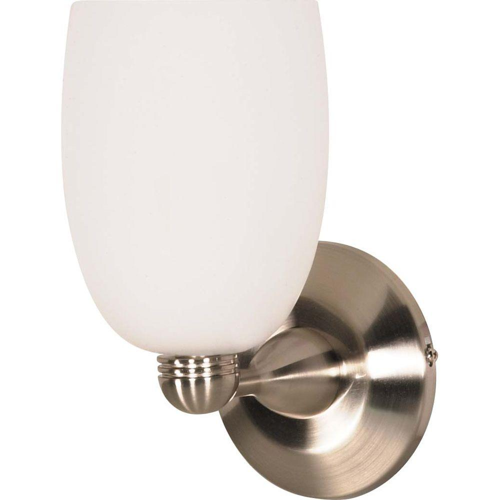 Glomar 1-Light Brushed Nickel Incandescent Wall Fixture with Arctic Brandy Glass-DISCONTINUED