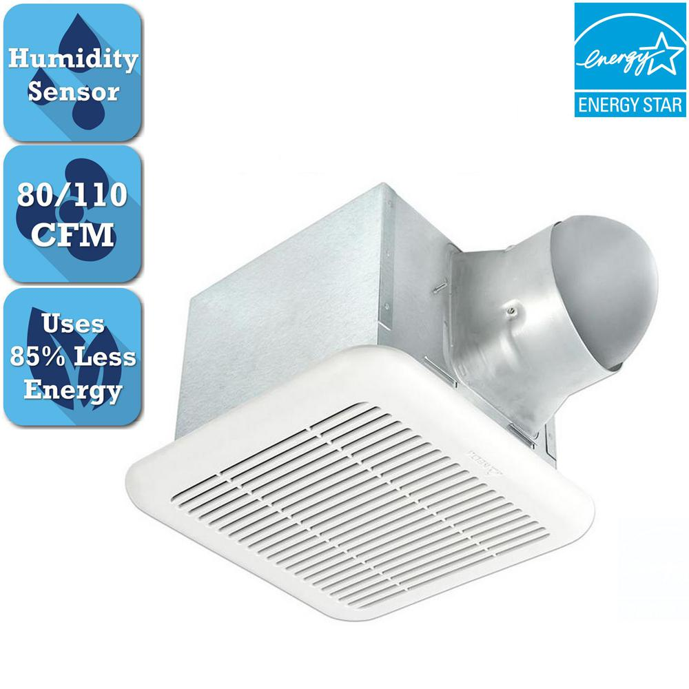 Delta breez signature 80 110 cfm adjustable speed ceiling bathroom exhaust fan with humidity Humidity activated bathroom fan