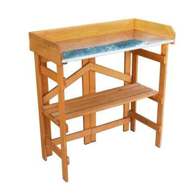 Natural Wood Folding Potting Bench with Zinc Table Top