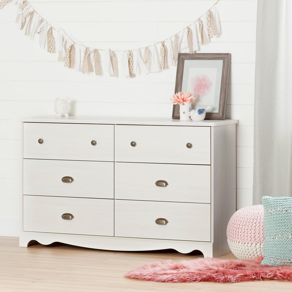 South Shore Caravell 6 Drawer White Wash Dresser 10298 The Home Depot