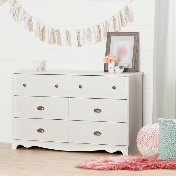 South Shore Caravell 6-Drawer White Wash Dresser 10298