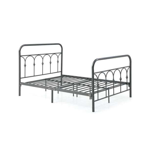 Hodedah Complete Metal Charcoal Queen Bed with Headboard, Footboard, Slats and