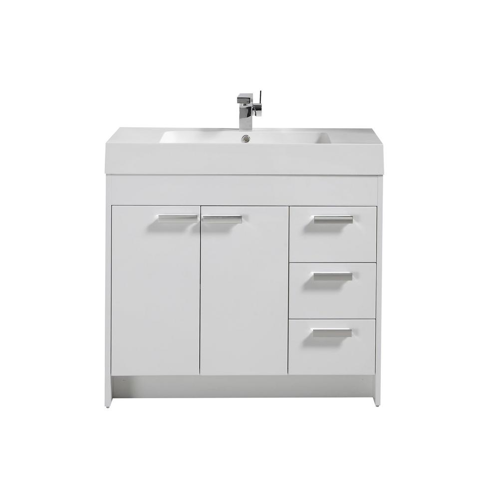 Lugano 36 in. W x 19 in. D x 34 in. H Vanity in White with Acrylic Top in White with White Basin