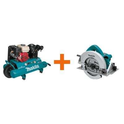 10 Gal. 5.5 HP Portable Gas-Powered Twin Stack Air Compressor with bonus 7-1/4 in. 15 Amp Corded Circular Saw
