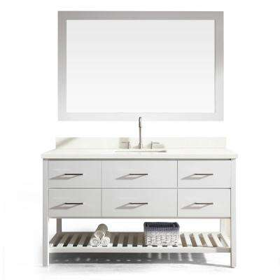 Shakespeare 61 in. Bath Vanity in White with Quartz Vanity Top in White with White Basin and Mirror
