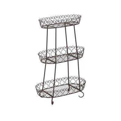 16.93 in. x 47.64 in. Black Steel Plant Stand