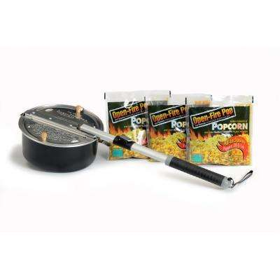 4-Piece Aluminum Black Outdoor Popcorn Popper with 3 All-Inclusive Popping Kits
