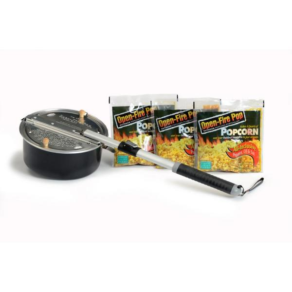 Open-Fire Pop 4-Piece Aluminum Black Outdoor Popcorn Popper with 3 All-Inclusive Popping Kits