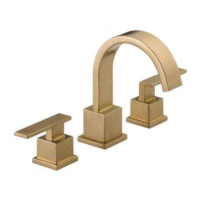 Vero 8 in. Widespread 2-Handle Bathroom Faucet with Metal Drain Assembly in Champagne Bronze