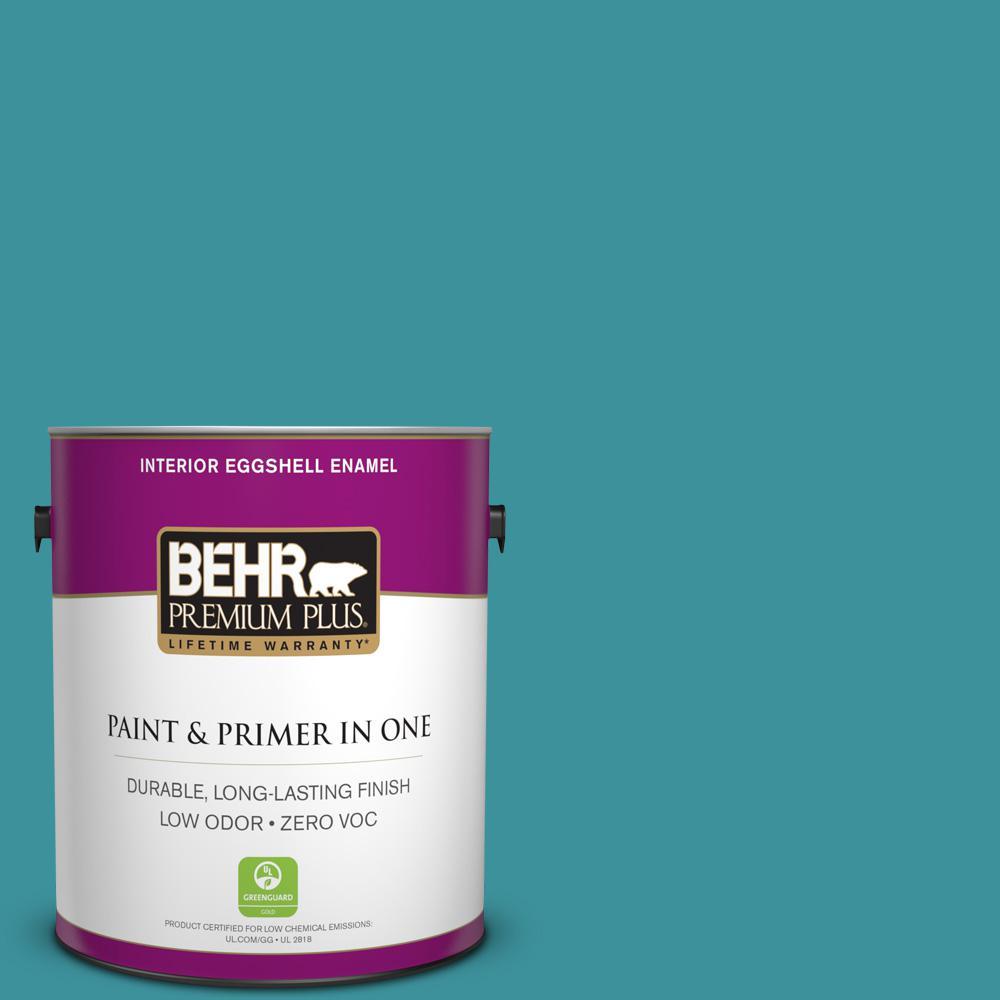BEHR Premium Plus 1-gal. #520D-6 Lagoon Zero VOC Eggshell Enamel Interior Paint