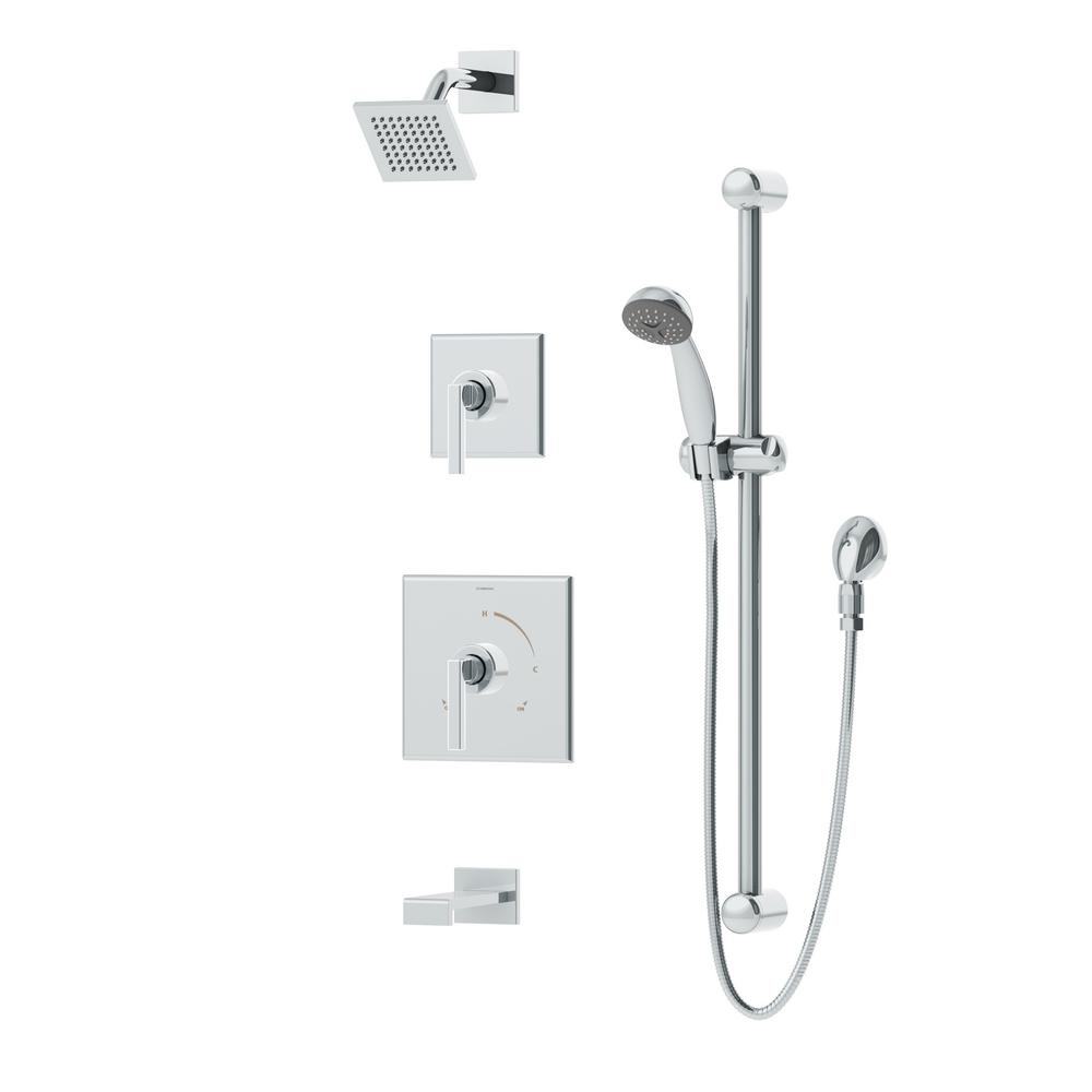 Duro 2 Handle 1 Spray Tub And Shower Faucet With Handshower Square Spout Showerhead In Chrome Valve Included