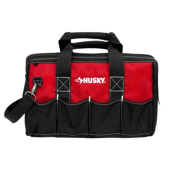 18 in. Wide Mouth Water Resistant Metal Hardware Dual-Zipper Tool Storage Bag with Shoulder Strap and 14 total pockets