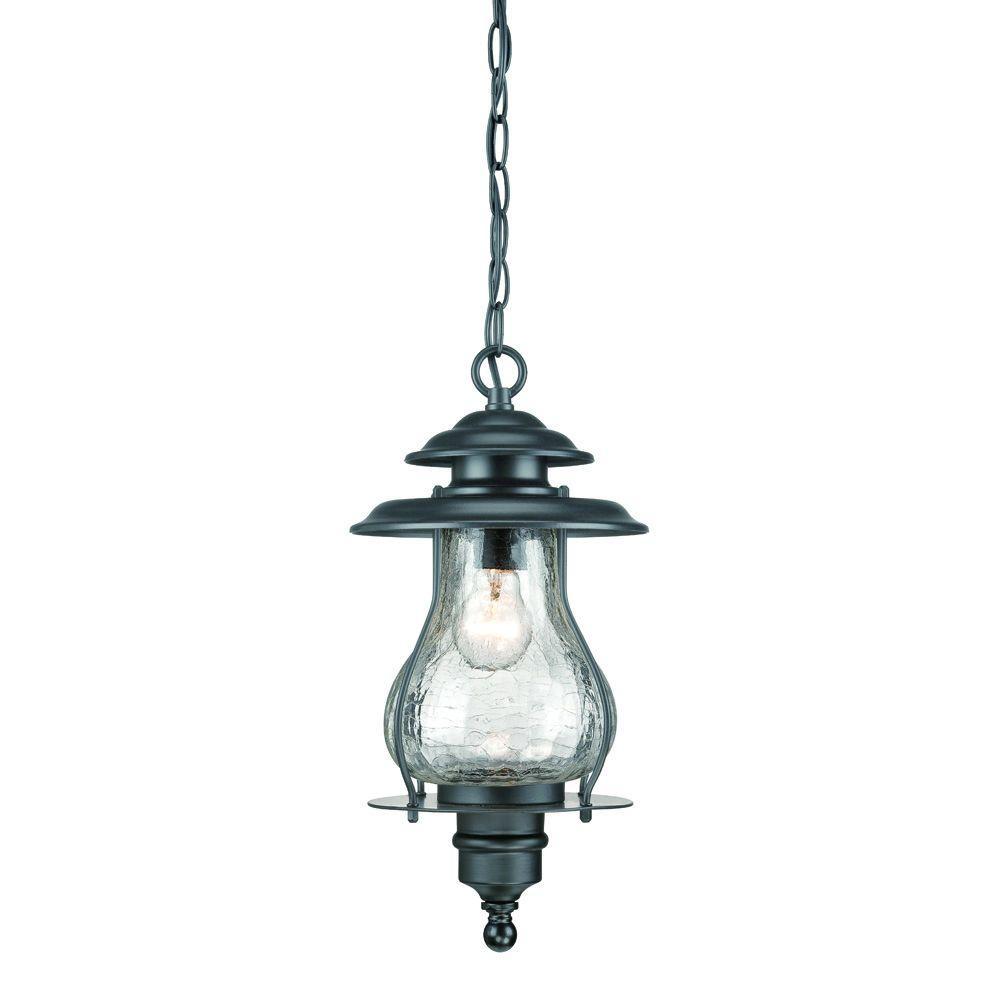 Blue Ridge Collection 1-Light Matte Black Outdoor Hanging Lantern