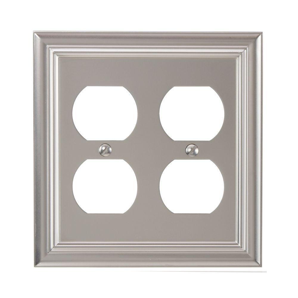 Continental 2 Gang Duplex Metal Wall Plate - Satin Nickel