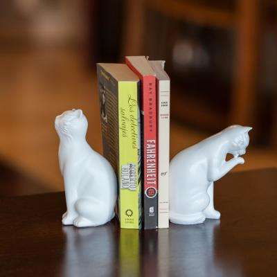 Cats White Resin Bookends (Set of 2)