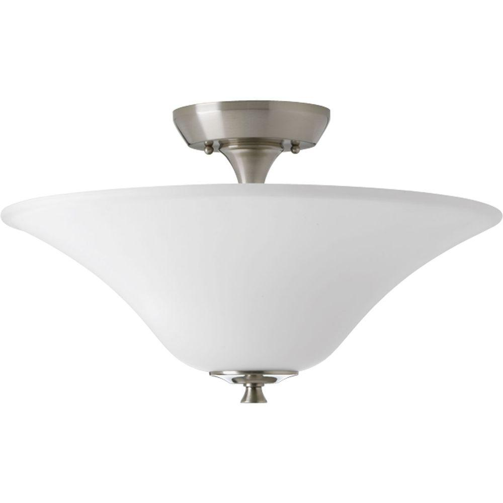 Progress Lighting Cantata Collection 2 Light Brushed Nickel Semi Flushmount P3440 09 The Home