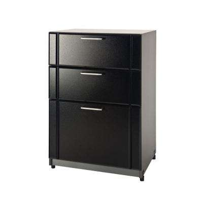 18.63 in. D x 24 in. W x 37 in. H 3-Drawer Garage Cabinet Laminate Closet System in Black