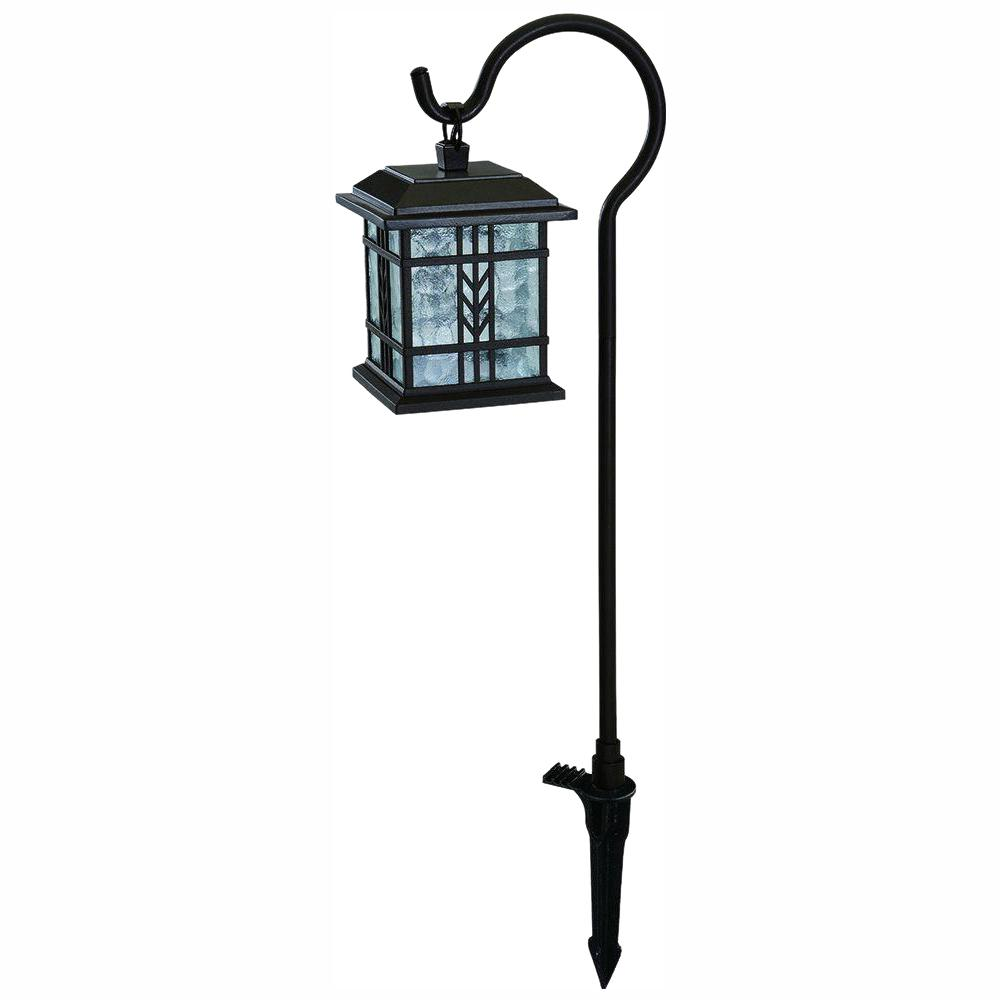 Hampton Bay Low Voltage Bronze Outdoor Integrated Led Landscape Mission Style Shepherd Hook Path Light With Water Gl Lens
