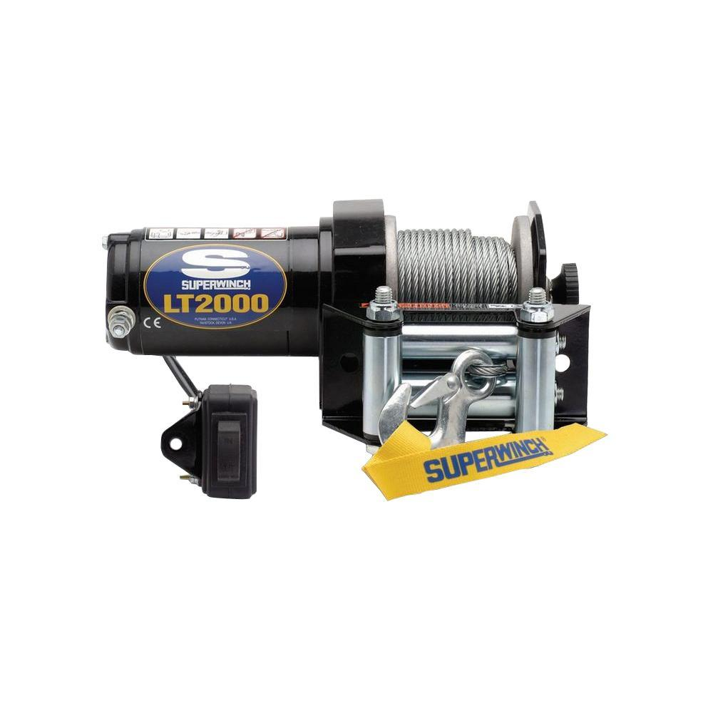 LT2000 12-Volt DC ATV Winch with 4-Way Roller Fairlead and Rocker