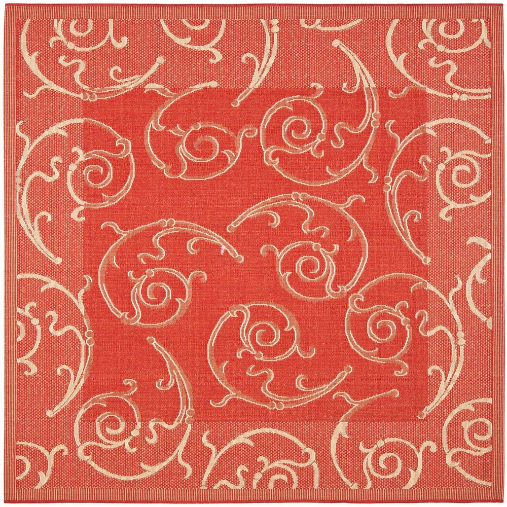 Safavieh Courtyard Red Natural 8 Ft X 8 Ft Indoor