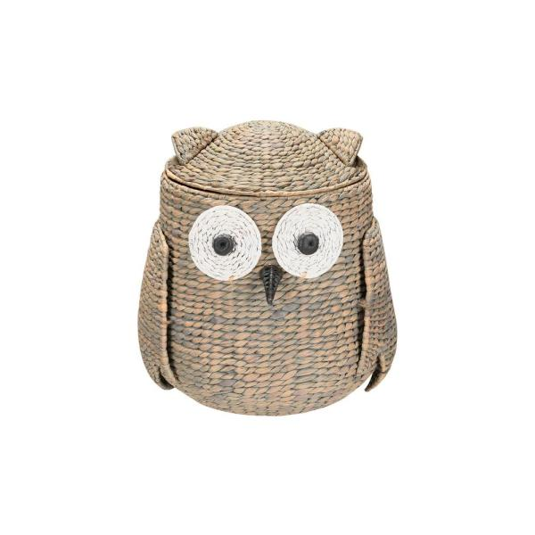 StyleWell Grey and Brown Owl Water Hyacinth Woven Decorative Basket with Lid