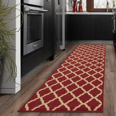 Ottohome Collection Contemporary Moroccan Trellis Design Dark Red 2 ft. x 5 ft. Runner Rug