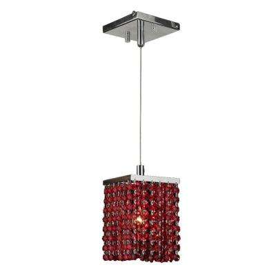 Prism 1 Light Chrome Mini Pendant With Red Crystal Amazing Design
